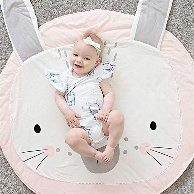 Muswanna Baby Kids Toddler Game Mat Crawl Play Mat Carpet Playmat Cotton Blanket Sleeping Mat Blanket Pink Rabbit