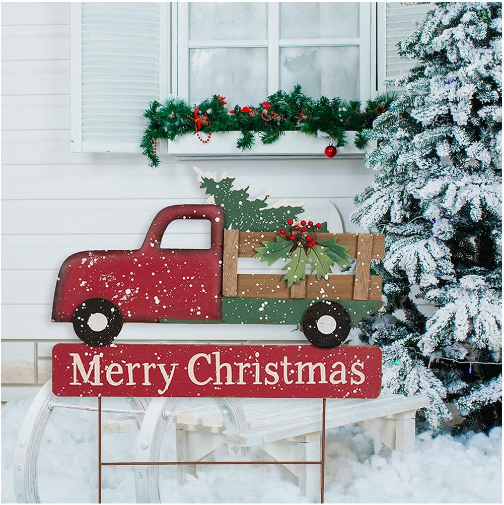"""Glitzhome Christmas Decoartions Metal Wooden Truck Yard Stakes Garden Decor Stake Lawn Patio Outdoor Sign Wall Decor 24"""" H"""