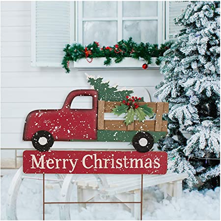 Glitzhome Rustic Metal Christmas Truck Yard Stake Lawn Garden Standing Sign Lawn Patio Wall Decor 32 H