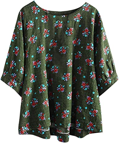 Womens Summer Print Tops ESAILQ Casual Large Size Cotton Top T-Shirt Sleeve T-Shirt Retro Boho Style Floral Loose Shirt