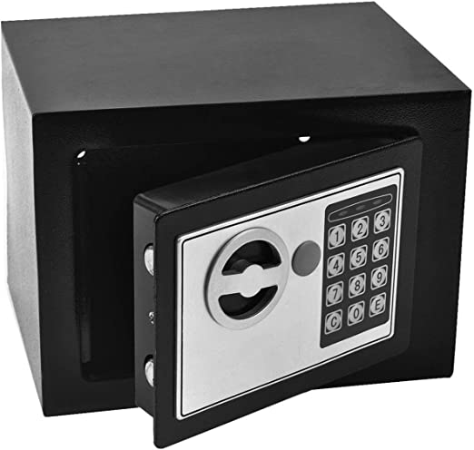 Durable Practical Strong High Security Password Safe Security Code Lock Cabinet Safe Storage Box to Guard Money Cash Jewelry Key Cash for Home Office Hotel 7L Digital Security Steel Safe Box