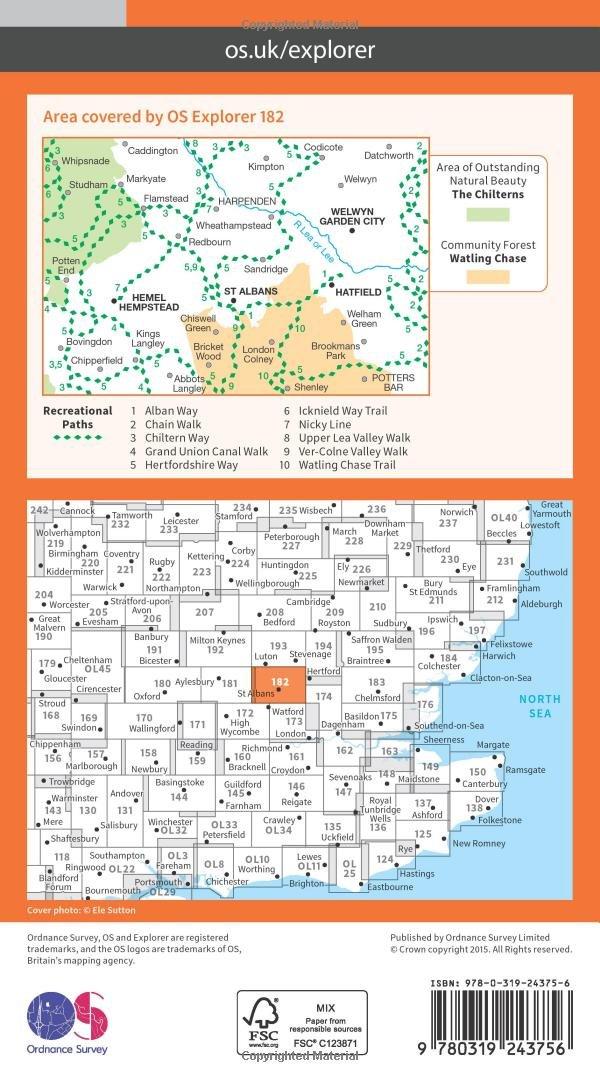 Os Explorer Map 182 St Albans And Hatfield Amazon