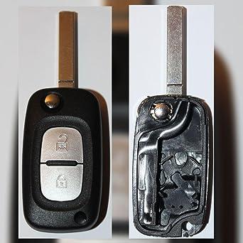 Renault - Carcasa para llave-mando, con 2 botones, para Renault Kangoo, Scenic y Clio