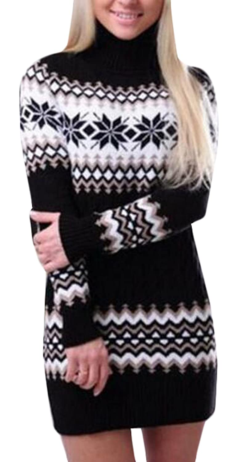 Genhao Womens Casual Christmas Snowflake Turtleneck Knitted Sweater