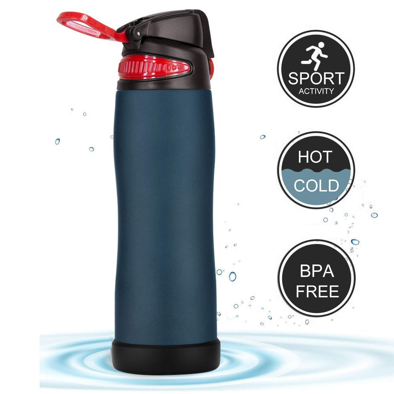 Bapack Botella de Agua de Pared Doble con Aislamiento al vací o, Botella de Agua de 750 ML Prueba de Fugas, Botella Té rmica de Acero Inoxidable sin BPA, 3 Tapas para Deportes, Ejercicio, al Aire Libre