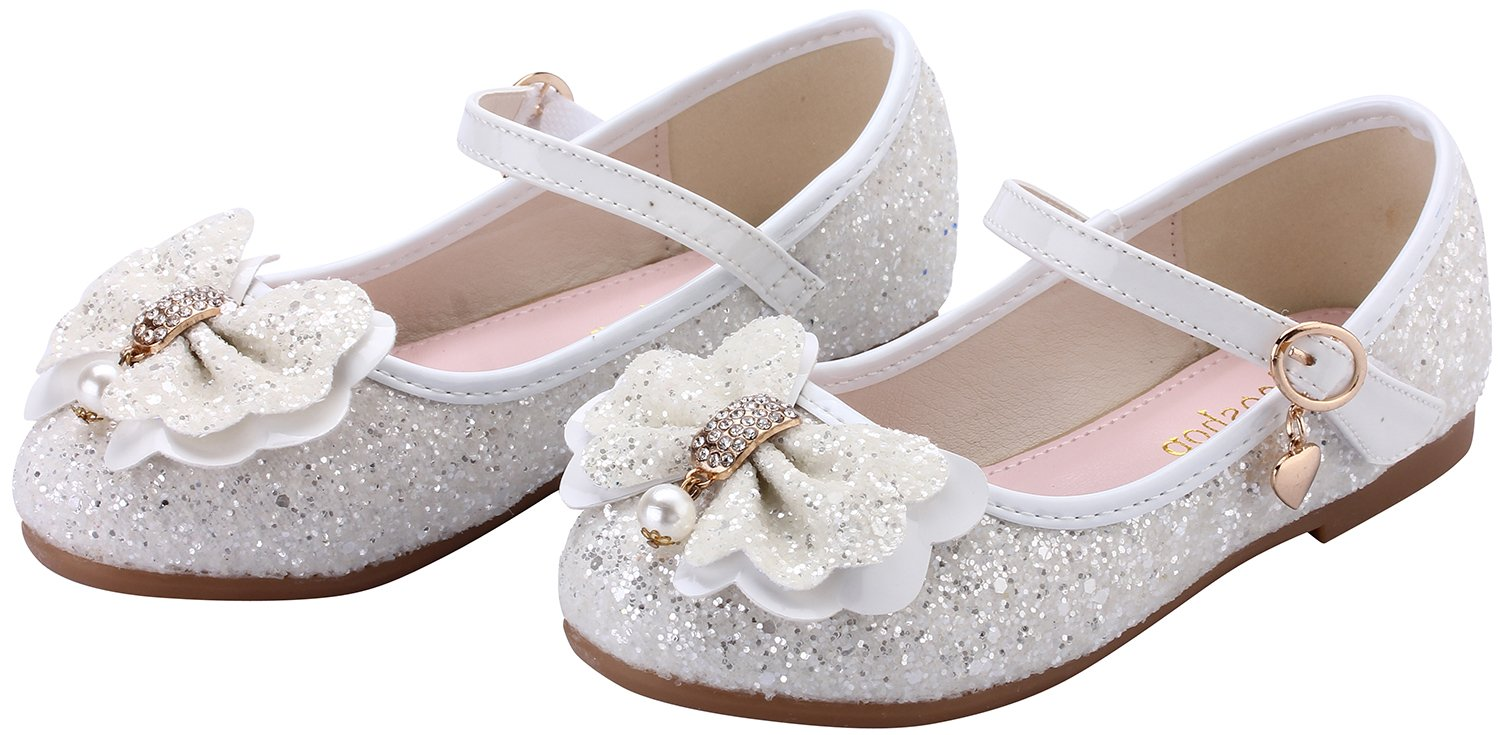 miaoshop Flower Girls Dress Ballet Flats Casual School Mary Jane Glitter Bow Shoes (10 M US Toddler, White) by miaoshop (Image #3)