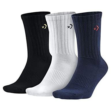 75880a95e75dc Converse Men`s Half Cushion Crew Socks 3-Pack at Amazon Men's ...
