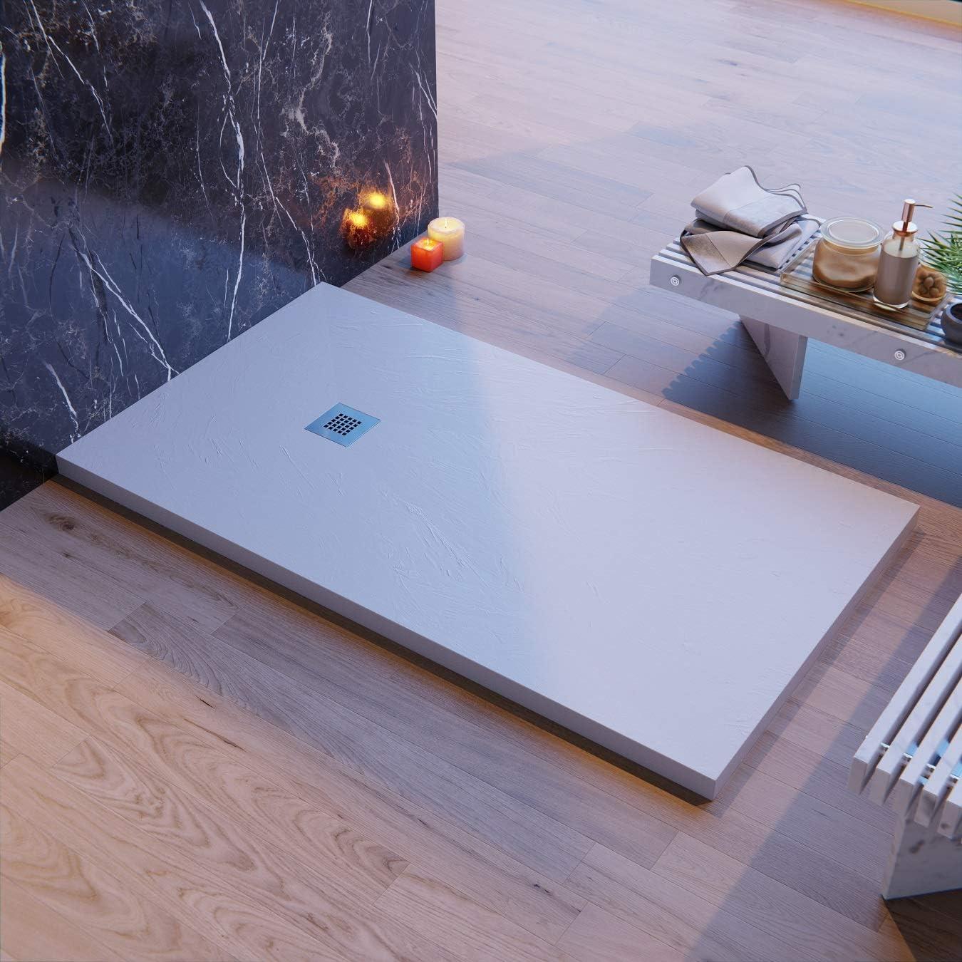 Plato de ducha fabricado en Italia, color gris claro, Luxury, en Mineralmarmo, revestimiento de Gelcoat, Slim 3 cm, en masa completa y reducible (80 x 150): Amazon.es: Bricolaje y herramientas