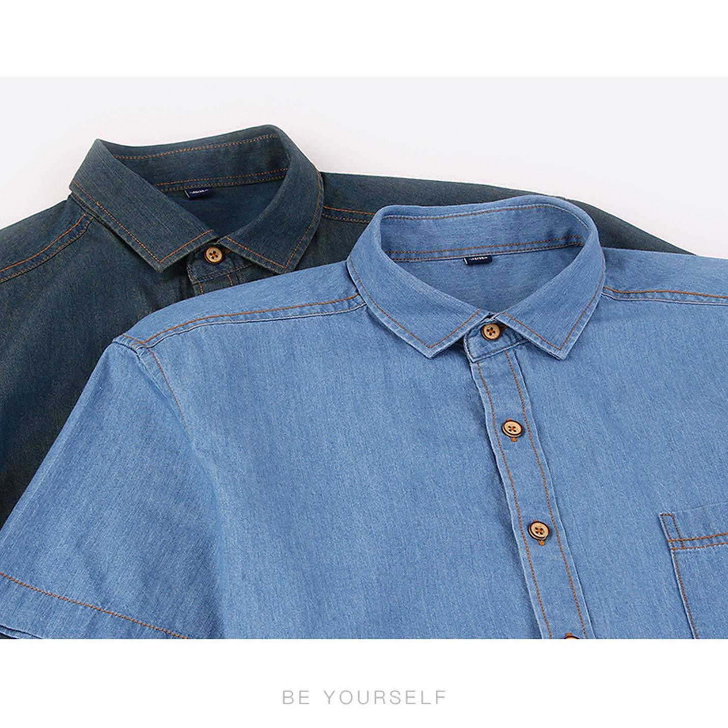 Flygo Mens Boasic Short Sleeve Button Down Denim Shirts