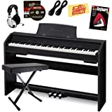 Casio Privia PX-760 Digital Piano Bundle with Gearlux Bench, Austin Bazaar Instructional DVD, Instructional Book, Headphones, Instrument Cables, and Polishing Cloth - Black