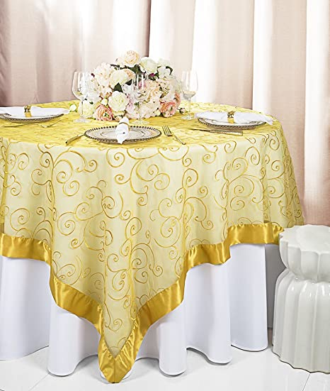 "GOLD Sheer Organza 72x72/"" SQUARE Table OVERLAY Topper Wedding Party Supplies"