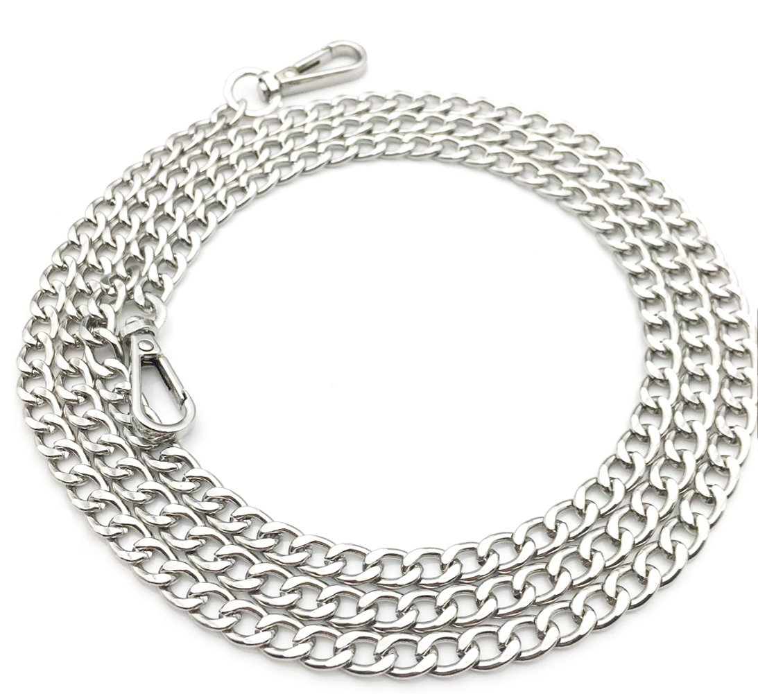55inch Metal Cross Body Bag Chain Strap With Buckles For Purse Handbag Shoulder Bag Chain Replacement Accessories (Silver) hzsddsm