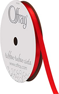 """product image for Offray 1/4"""" Wide Double Face Satin Ribbon, 20 Yards, Red"""