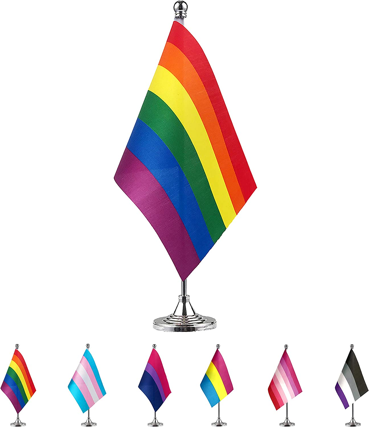 TSMD Rainbow Gay Pride Flag Small Mini LGBT Desk Table Flags with Stand Base,Decorations Supplies for Mardi Gras,Gay Pride Rainbow Party