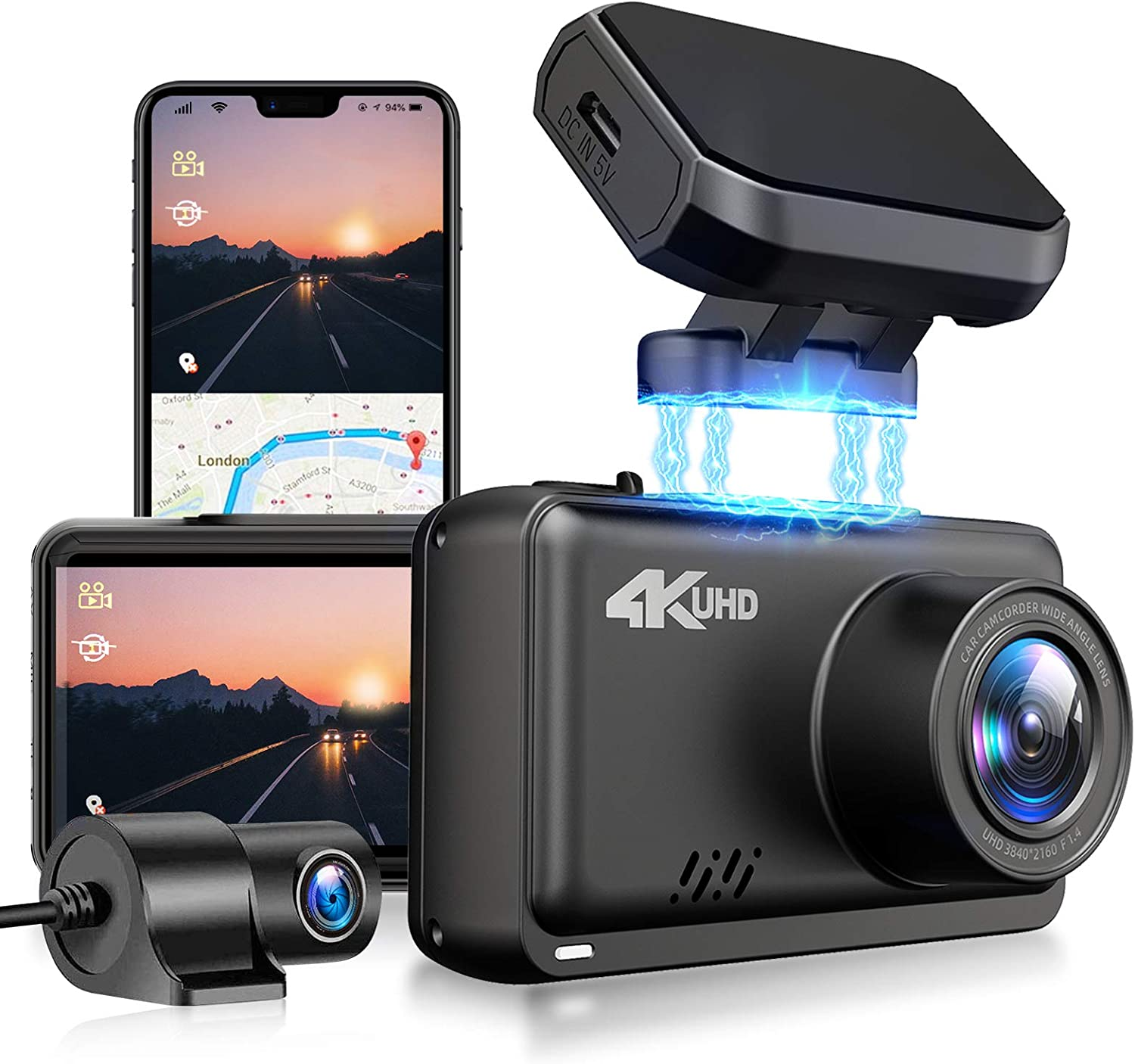 Amazon Com Jomise Dual Dash Cam 4k 1080p Built In Wifi Gps Car Dashboard Camera Recorder With Uhd 3840x2160p 2 45 Lcd 170 Wide Angle Wdr Night Vision G Sensor Max Support 128gb