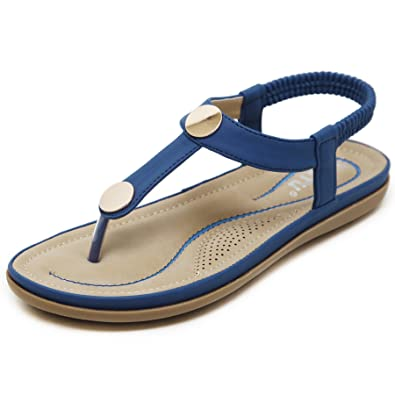Dreamone Damen Zehentrenner Sandalen Flach Sandaletten Sommer Strand Schuhe Gr.34 41