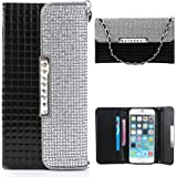 Iphone 6 Case,Iphone 6 Wallet Case,By Caseland Grid Pattern Bling Button Wallet Case For Iphone 6 4.7 Inch Case With Sling black