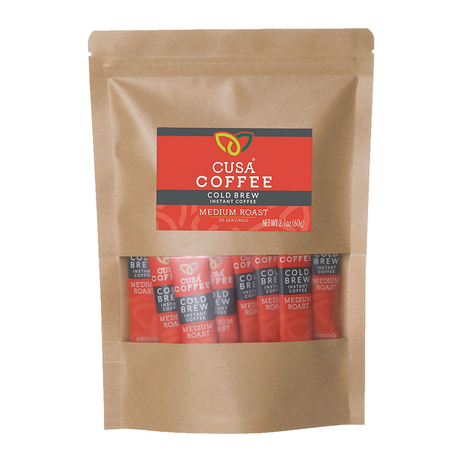 Cusa Coffee: Medium Roast Cold Brew Instant Coffee - No Sugar or Preservatives - Ready in Seconds - Hot or Iced (30 Servings)