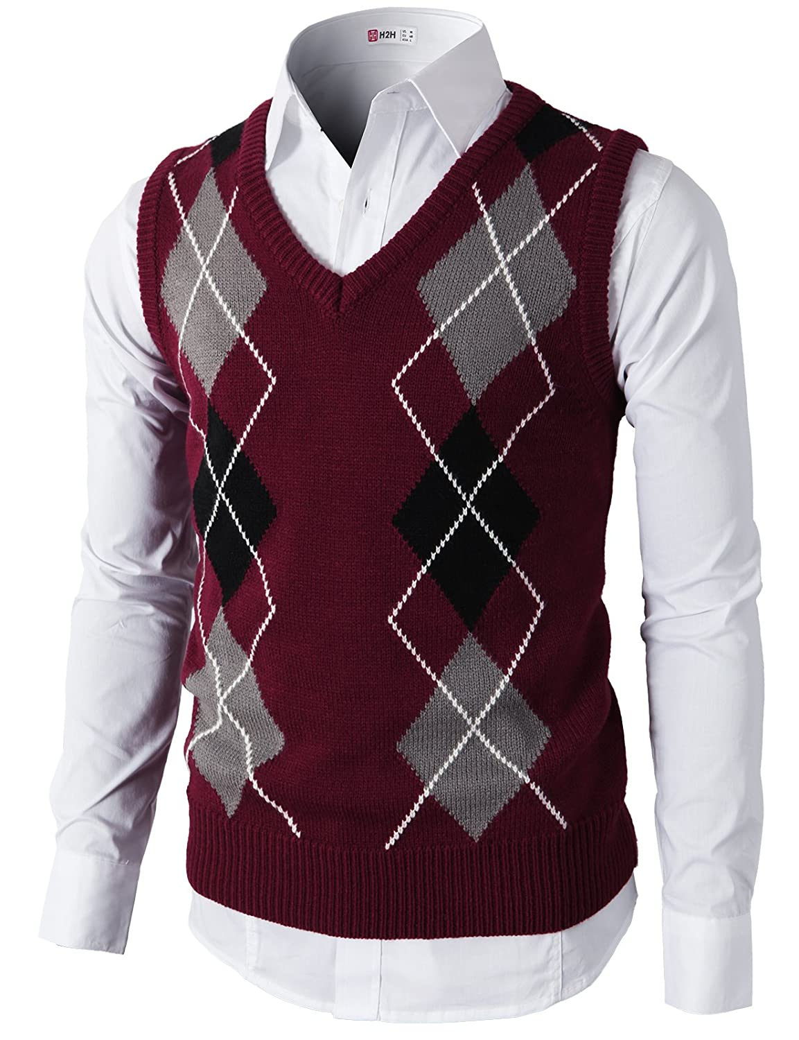 Men's Vintage Inspired Vests Argyle V-Neck Golf Sweater Vest Of Various Colors $29.70 AT vintagedancer.com