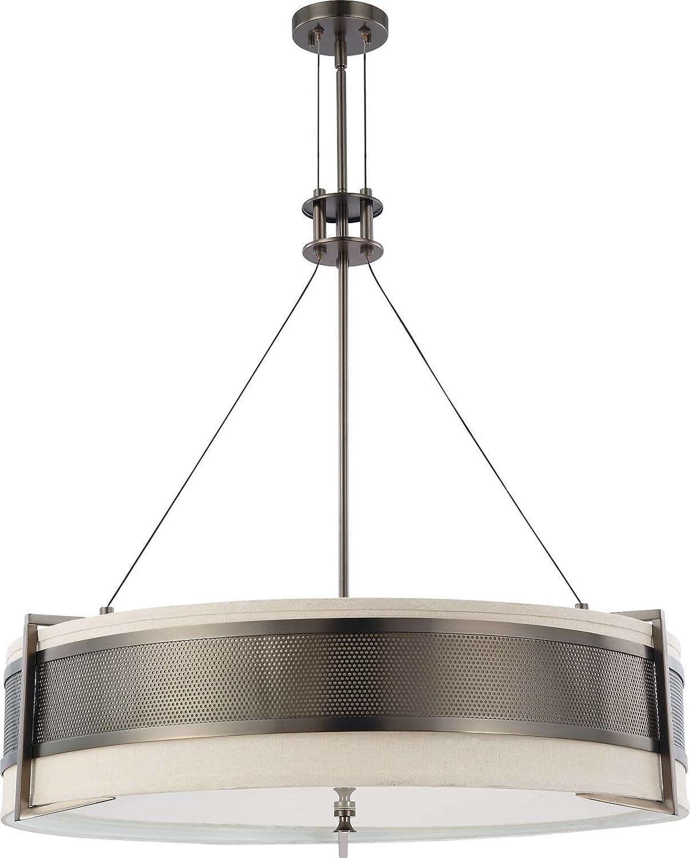 Nuvo lighting 604034 six light diesel round pendant with khaki nuvo lighting 604034 six light diesel round pendant with khaki fabric shadecream diffuser hazel bronze ceiling pendant fixtures amazon aloadofball Image collections