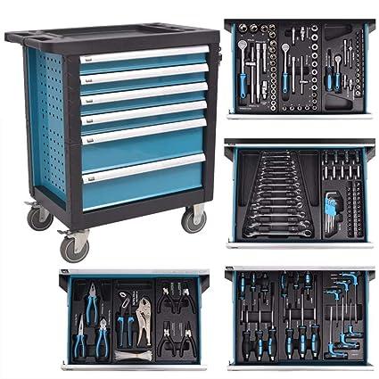 vidaXL mueble baúl caja de herramientas para taller con 270 herramientas acero azul