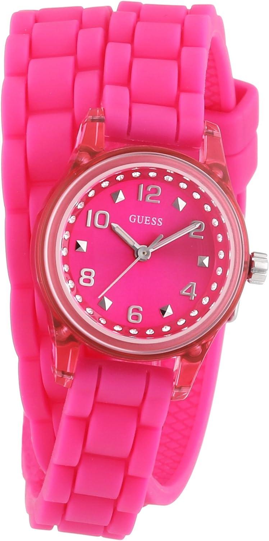 Guess W65023L3 - Reloj analógico de Cuarzo para Mujer con Correa de Caucho, Color Rosa