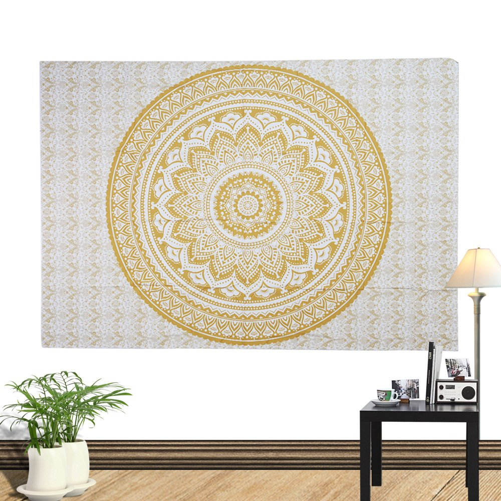 Tapestry Gold Ombra India Mandala Tapestry Wall Art Hippie Wall Hanging Bohemian Bedspread (150cm x130cm)