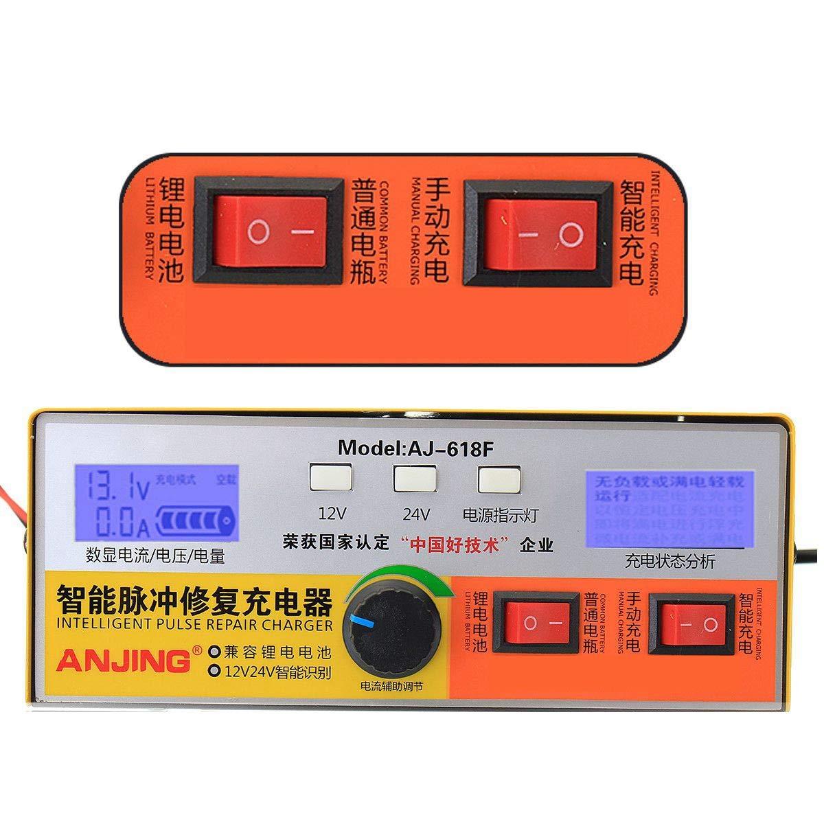 TOOGOO Automatic Intelligent Pulse Repair Type 12V//24V 400Ah Car Battery Charger Aj-618