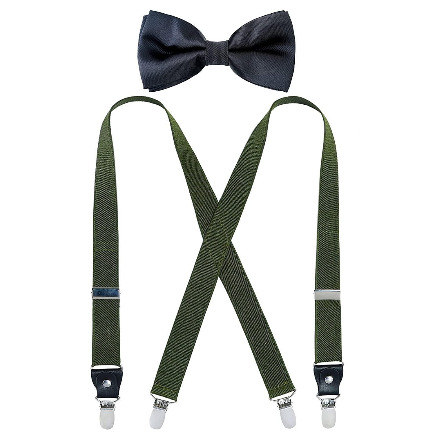 Kids Boy Suspenders Bowtie Set - Adjustable Suspender and Pre tied Bow Tie Set for Men (24Inches (7Months to 3 Years), Navy Blue& Red Stripe) WBU15TY36