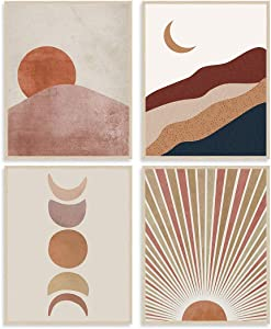 Sun and Moon Art Painting Wall Decor Terracotta Mid Century Modern Boho Themed Canvas Wall Art Prints for Home Bedroom Wall Decorations, Set of 4 (8
