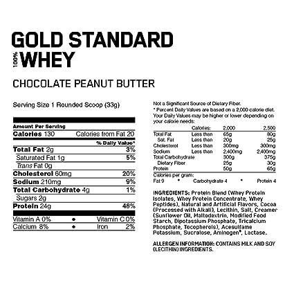Optimum Nutrition Gold Standard 100% Whey Proteína en Polvo, Chocolate y Mantequilla de Cacahuete - 891 g: Amazon.es: Salud y cuidado personal