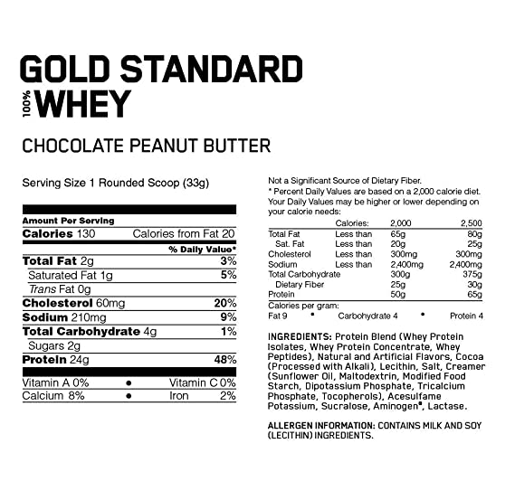 Optimum Nutrition Gold Standard 100% Whey Proteína en Polvo, Chocolate Peanut Butter - 2240 g: Amazon.es: Salud y cuidado personal