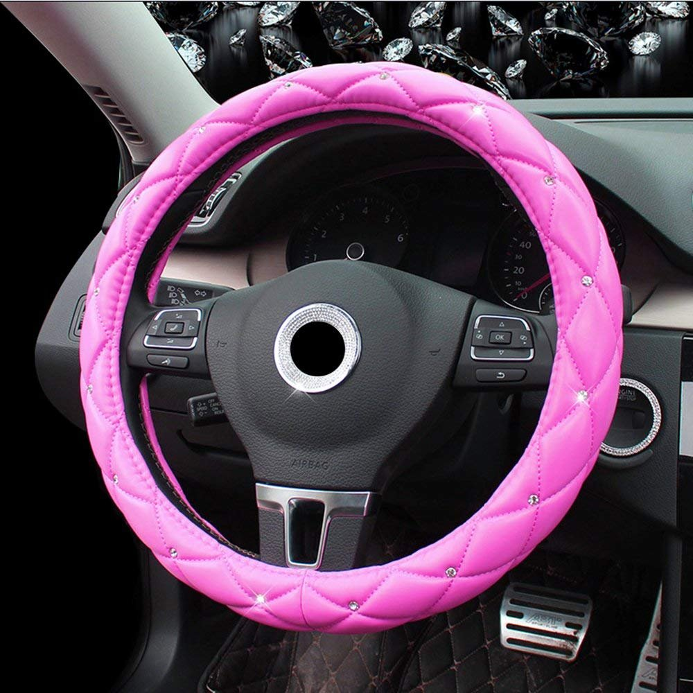 Black/&White Lisaion Automotive Women Handmade Embroidery Cute 15 inch Car Steering Wheel Cover