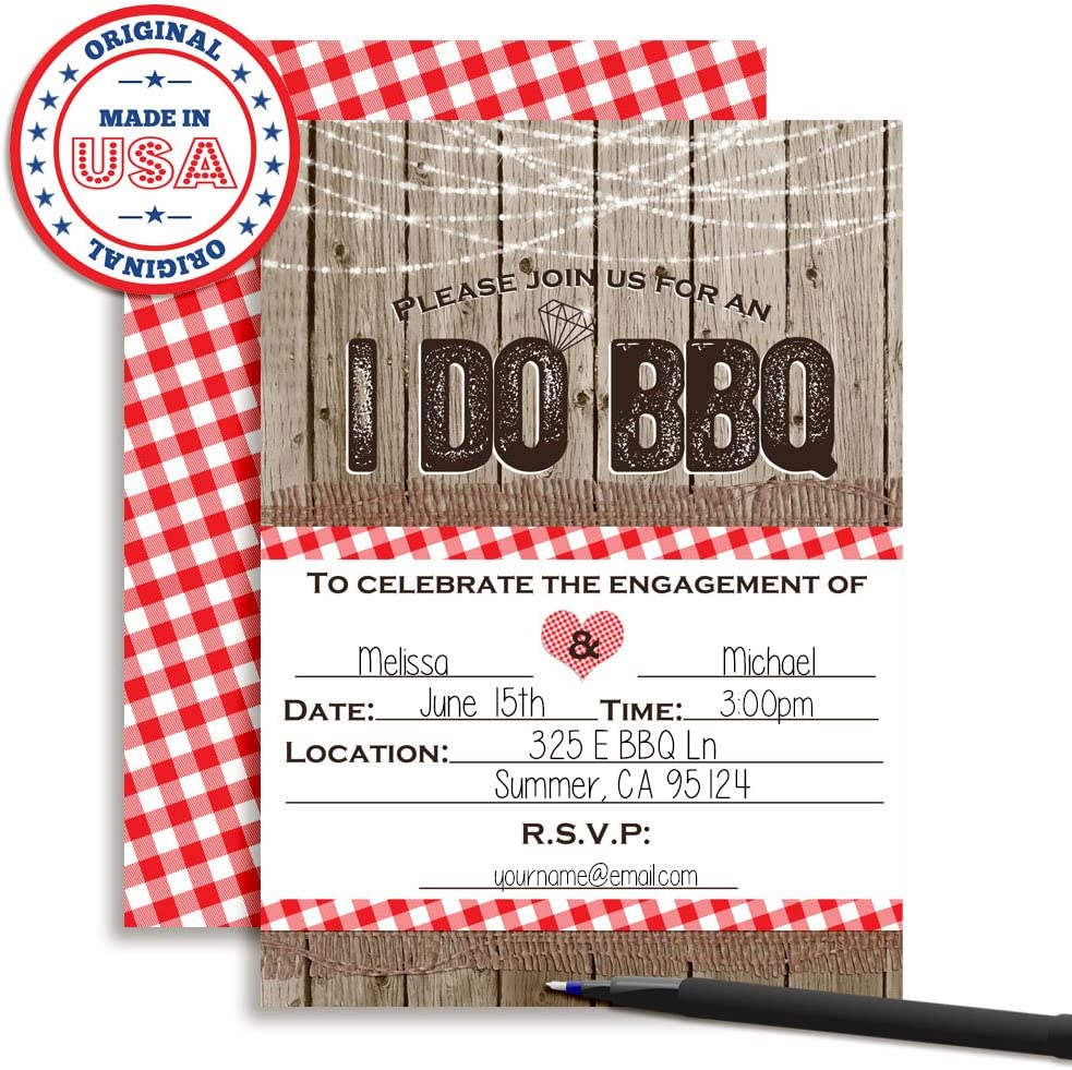 Amanda Creation I Do BBQ Engagement Party Fill in Invitations Set of 20 with envelopes Perfect for Celebrating The Newly Engaged Couple