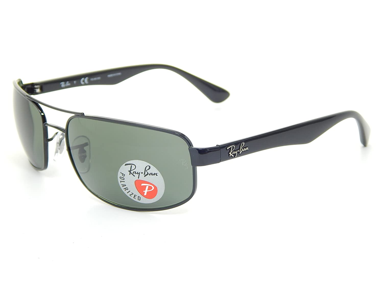 27a1dd5fd58 Amazon.com  Ray Ban RB3445 002 58 Black Crystal Green Polarized 61mm  Sunglasses  Shoes