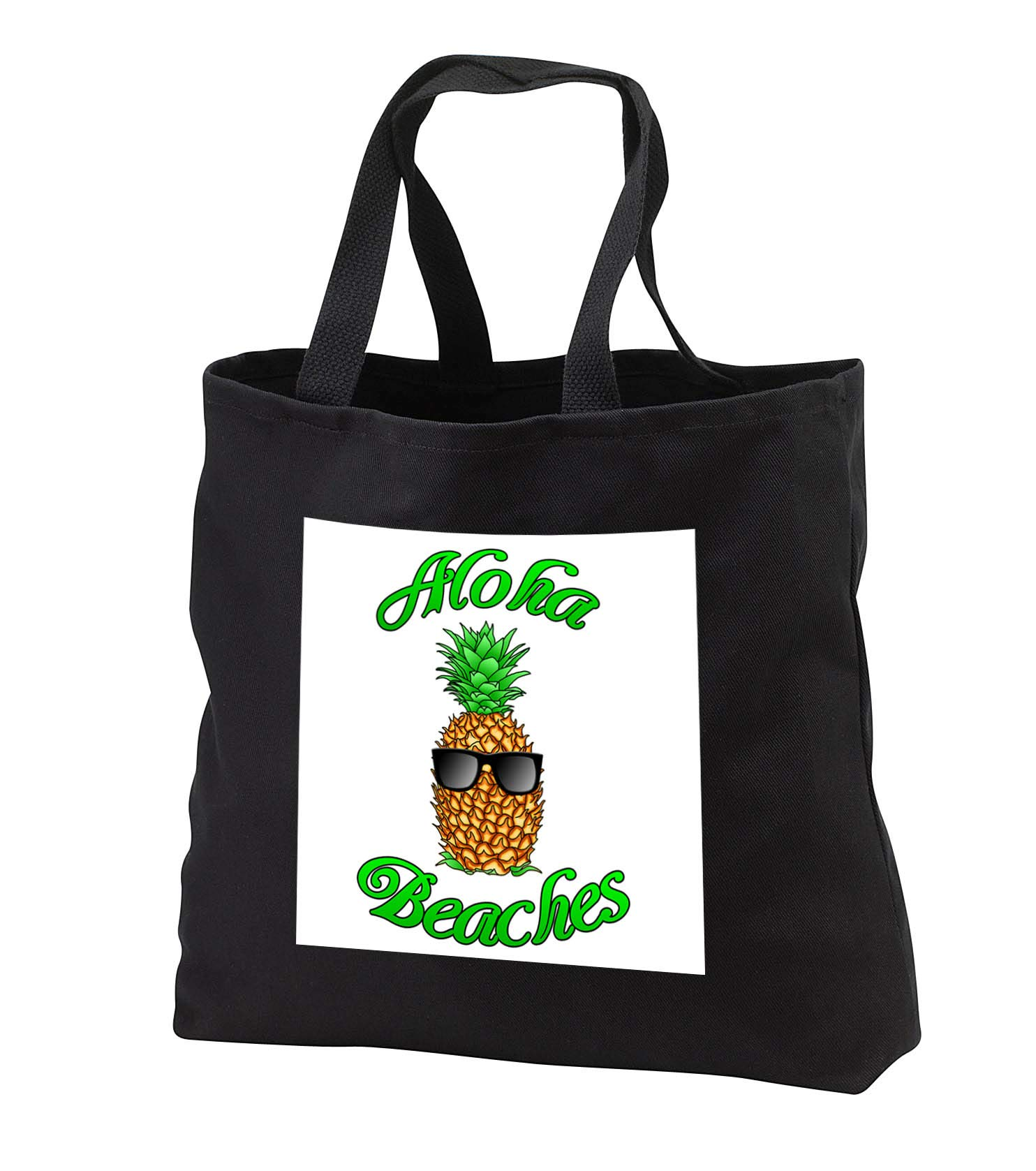 MacDonald Creative Studios - Hawaii - Funny Aloha Beaches with a cool tropical pineapple in sunglasses. - Tote Bags - Black Tote Bag 14w x 14h x 3d (tb_291825_1)