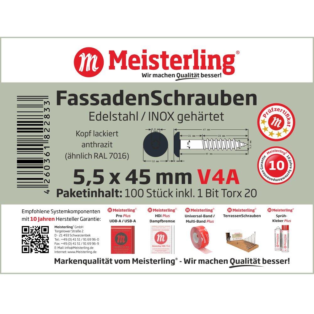 Meisterling/® FassadenSchrauben 4,8 x 25 mm V2a Edelstahl mit Flachkopf