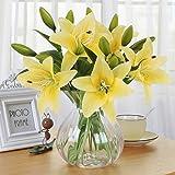 Flores Artificiales, Meiwo 5 Pcs Real Toque Látex Artificial Lillies Flores en Floreros Decoración de Boda / Decoración para el hogar / Parte / Graves Arreglo(Amarillo)