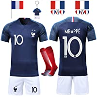 SHOLOV Maillots de Football Hommes Enfants France Football 2018 Coupe du Monde France 2 Étoiles Vêtements de Football Champion avec Chaussettes et Accessoires de Football