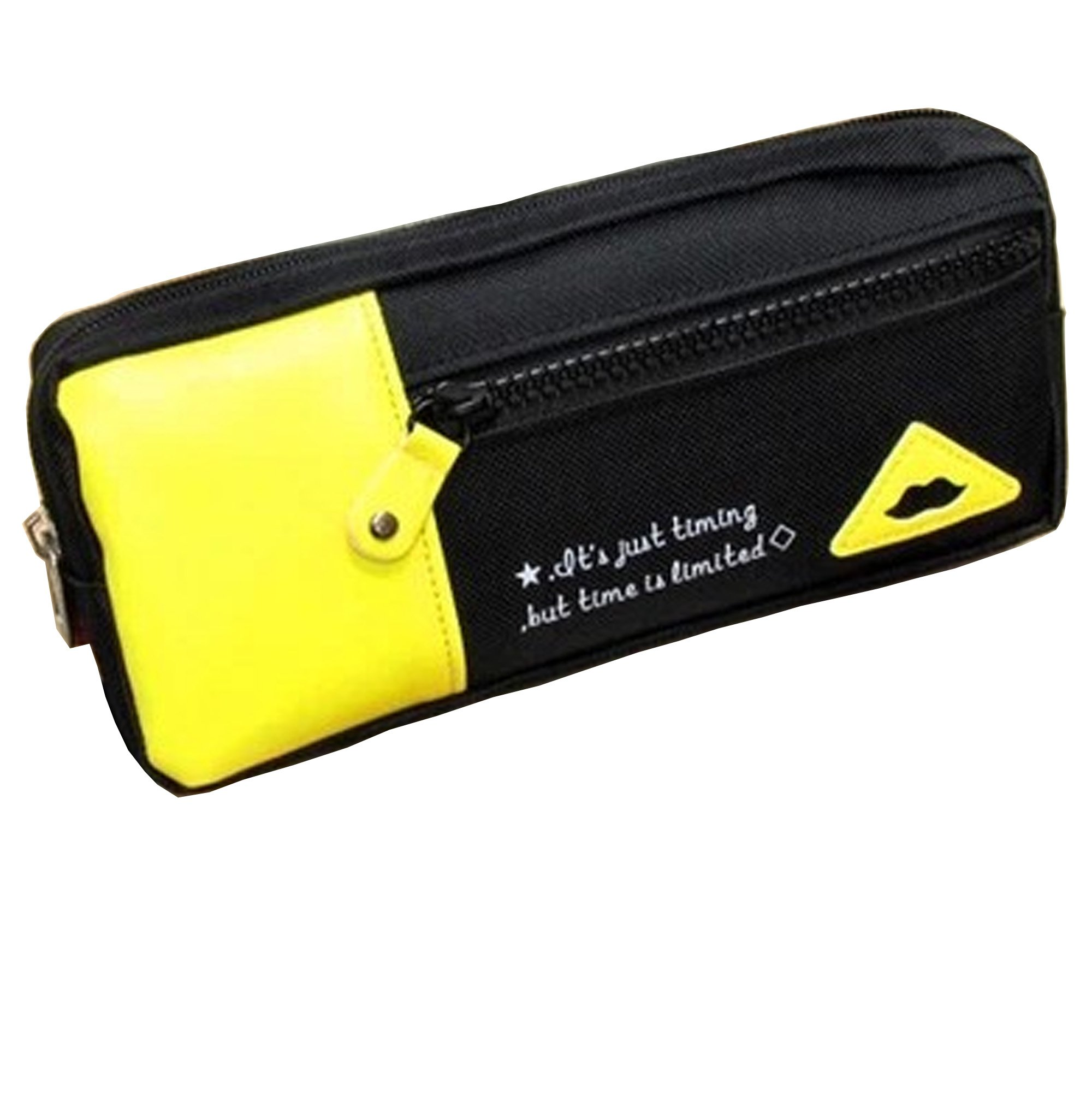 Large Capacity Docking Pen case Pouch Pencil Pen Holder Separation Colorful Stationery Storage (Yellow)