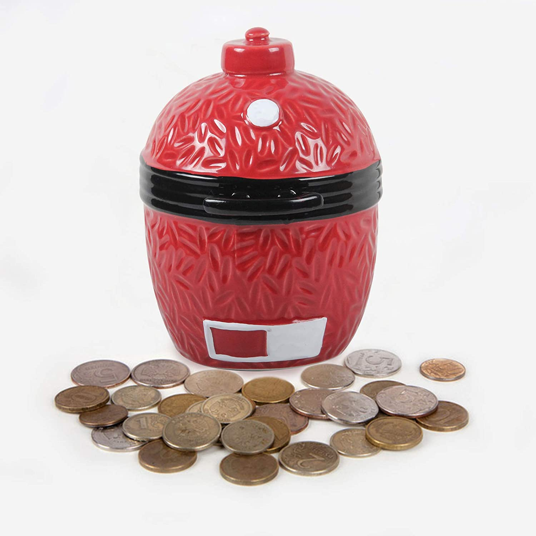VANKEY Cute Ceramic Piggy Bank, Carved Texture Children's Piggy Bank Coin Jar, Kamado Enthusiasts Dedicated Coin Jar