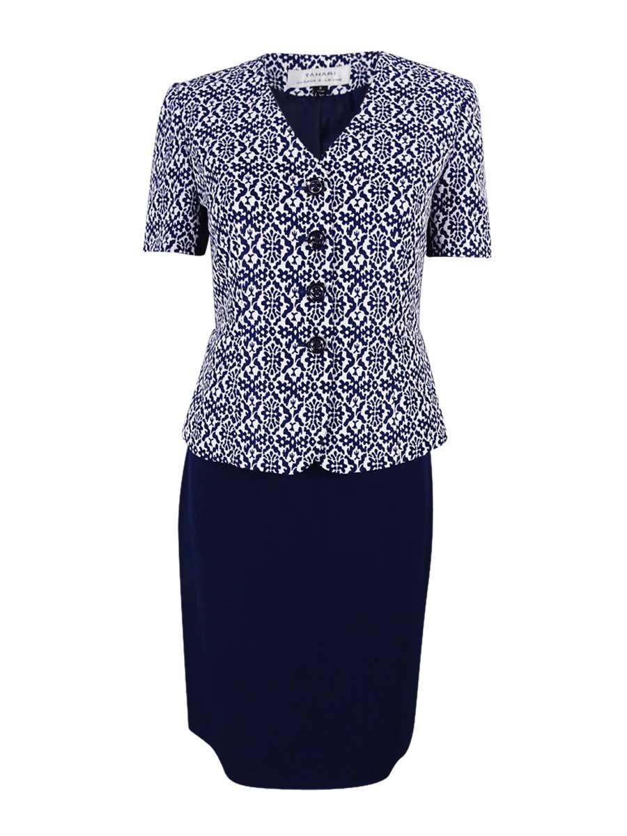 Tahari ASL Women's Petite Printed Jacquard Skirt Suit (6P, Navy/White)