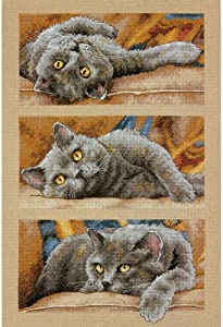 Dimensions 70-35301 Max the Cat Counted Cross Stitch Kit, 14 Count Beige Aida, 10