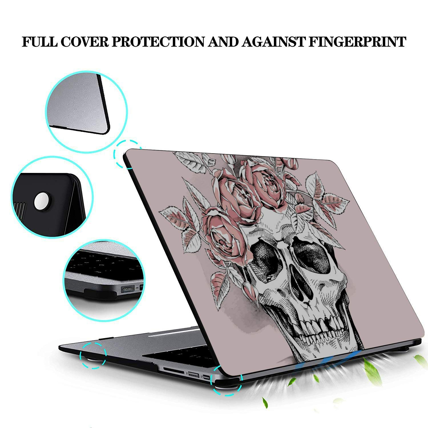 MacBook Pro 2015 Cover Colorful Cute Flower Sugar Skull Plastic Hard Shell Compatible Mac Air 11 Pro 13 15 2018 MacBook Pro Case Protection for MacBook 2016-2019 Version