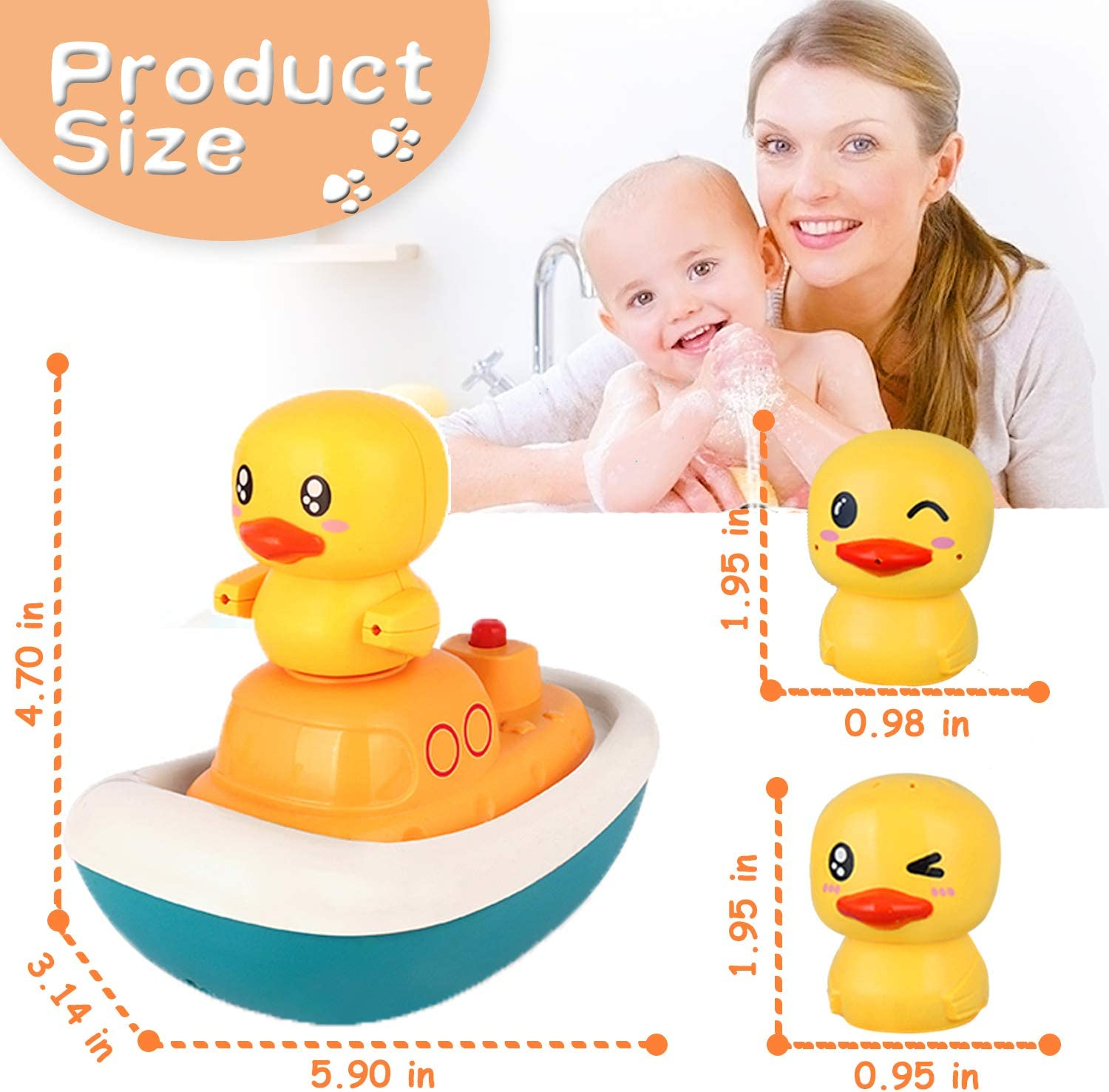 Sprinkler Shower Bathtub Toys for Toddlers Kids Boys Girls,Fun Bath Toys for Toddlers 1-3 Electric Water Spray Toys-Rotate Boat with 3 Fountain Methods Ducks ZHENDUO Baby Bath Toys