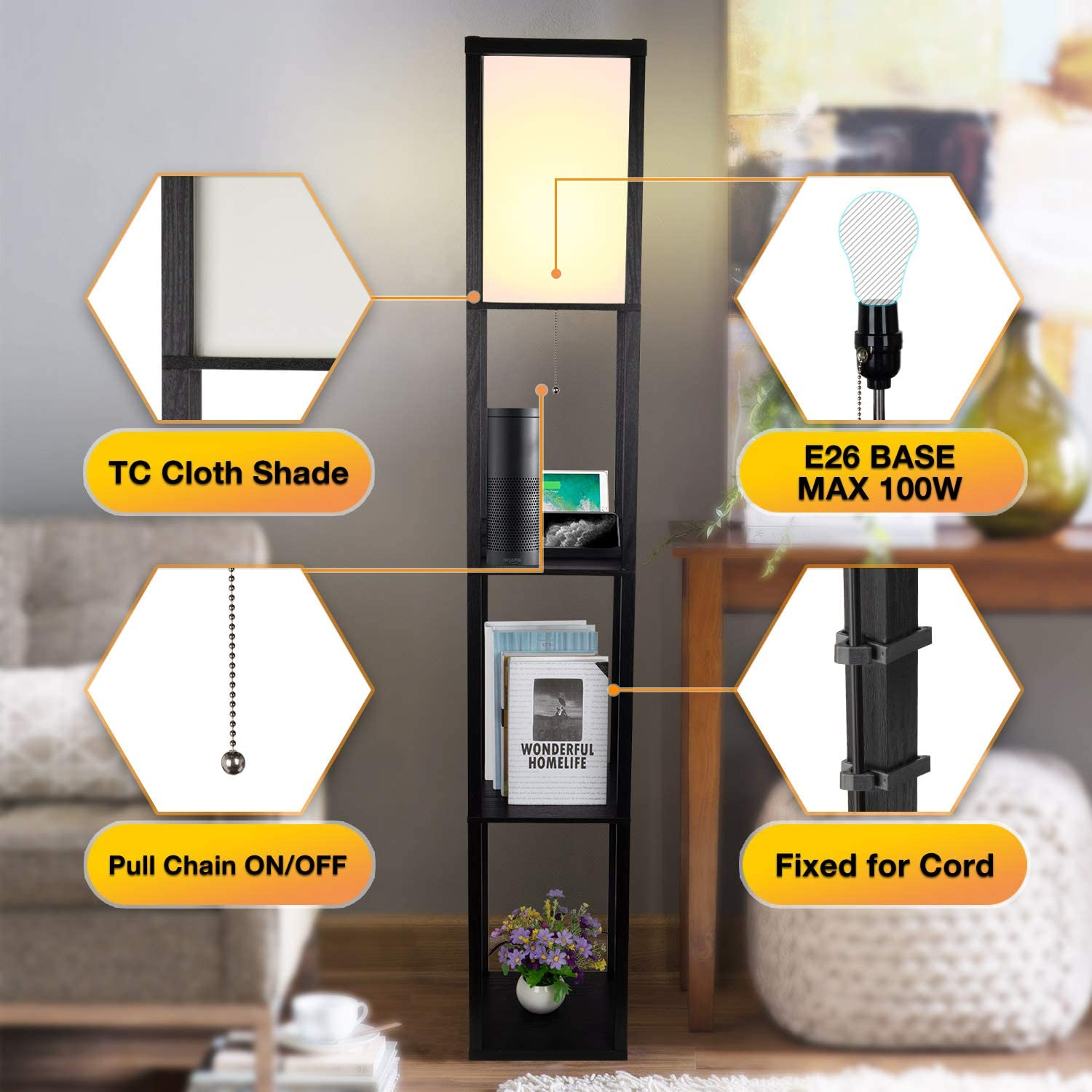 3-in-1 Shelf Floor Lamp with 2 Fast Charging USB Ports and 1 Power Outlet, 3-Tiered LED Shelf Floor Lamp, Shelf & Storage & LED Floor Lamp Combination, Modern Standing Light for Living Room, Bedroom - -