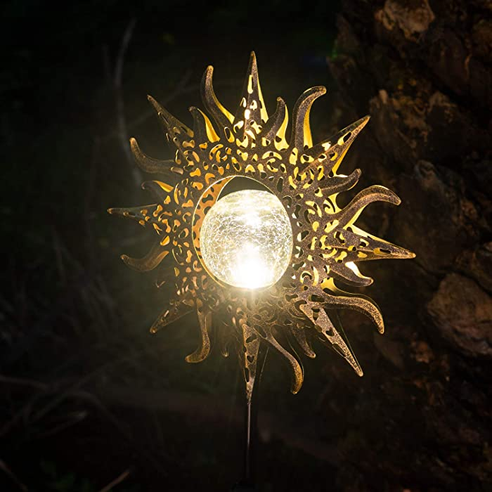 Amugmilk Solar Lights Garden Outdoor Decorative,LED Sun Decor Waterproof Metal Stakes,Solar Powered Art Crackle Glass Globe Lights for Walkway,Yard,Lawn,Patio Decoration