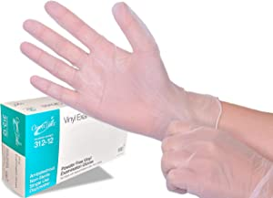 Vero Supplies Small Disposable Vinyl Gloves 100 Count (One Pack) - Powder Free, Clear, Latex Free and Allergy Free, Plastic, Medical, Food Service, Cleaning Service