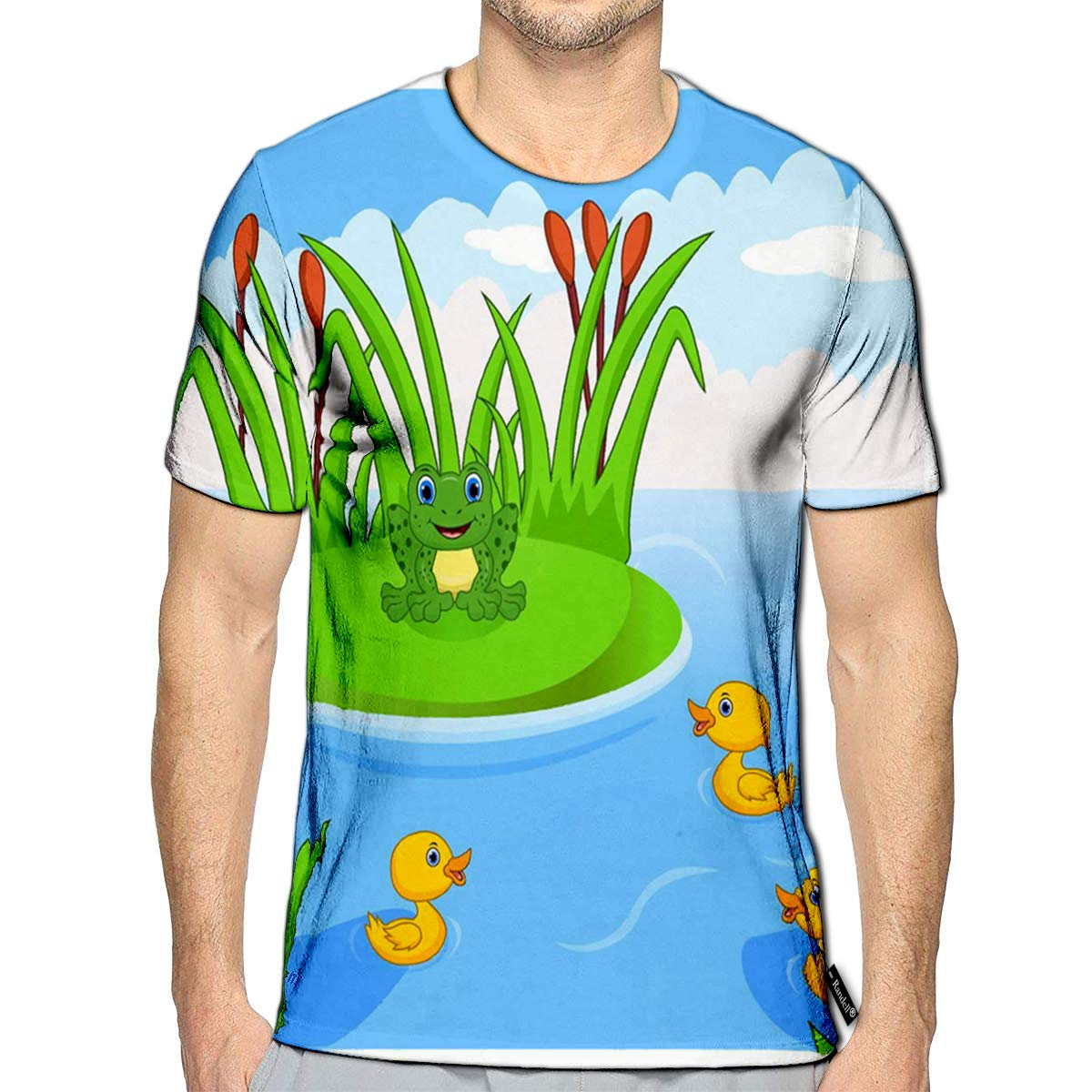 3D Printed T-Shirts Frog and Four Little Cute Ducklings in The River Short Sleev