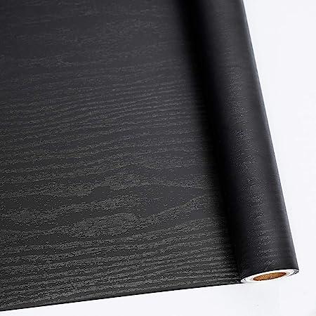 Amazon Com Papel De Madera Negro Para Pelar Y Pegar 11 4 In X 78 0 In Película Autoadhesiva Decorativa Para Superficies De Muebles Fácil De Limpiar Engrosamiento Para Aumentar Los Estomatos Y Reducir La